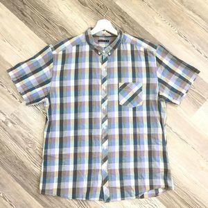Alaniz Shirt XL Blue Gray Plaid Button Down Short